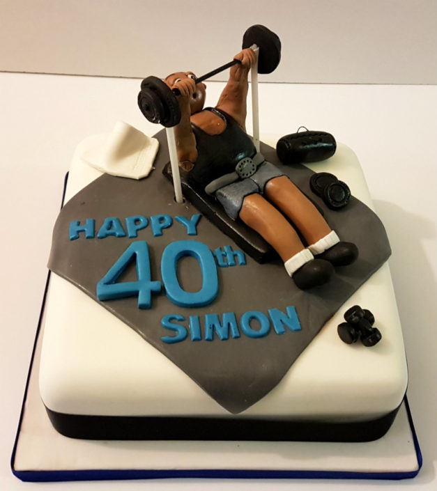 weight lifting gym hobby birthday cake - tamworth