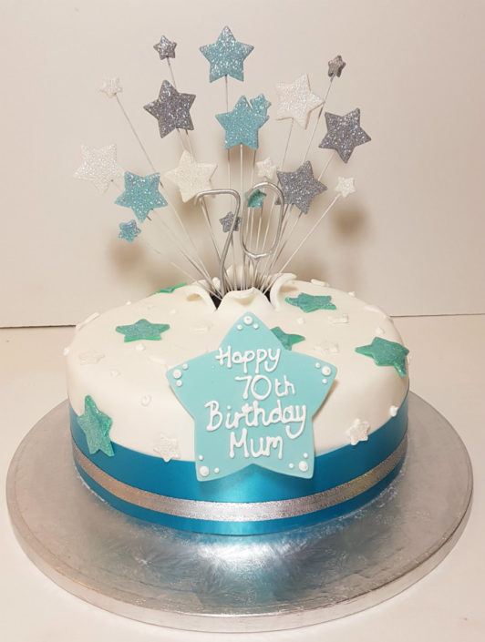 Light blue star spray cake - Tamworth