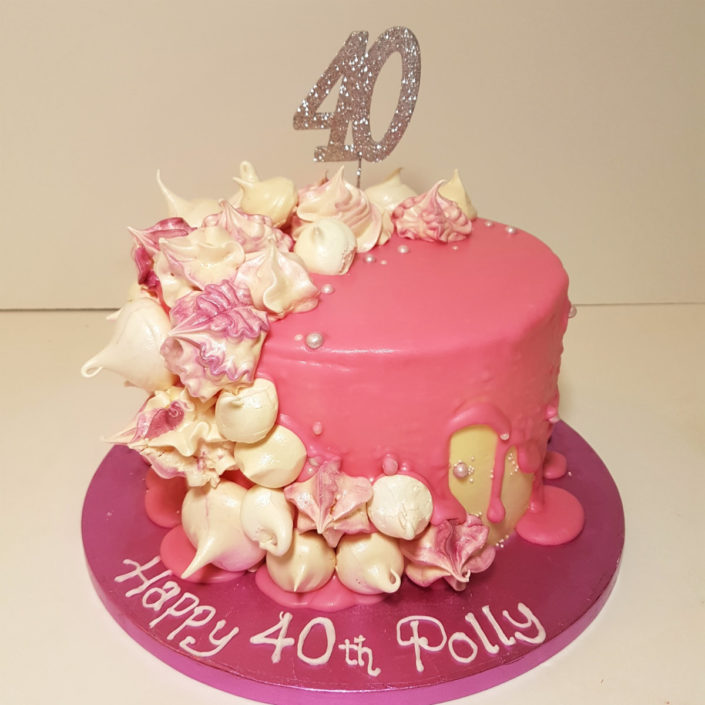 Pink meringue drip cake - Tamworth