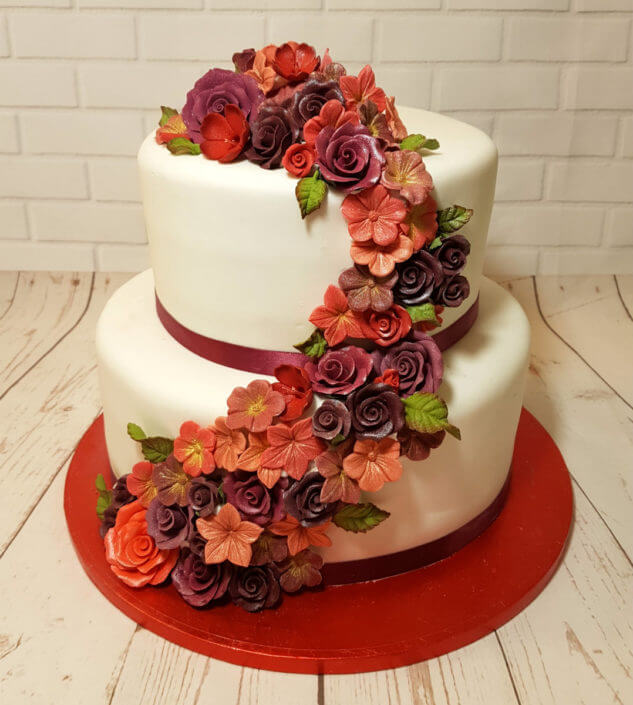 2 tier red flower spray birthday wedding cake - tamworth