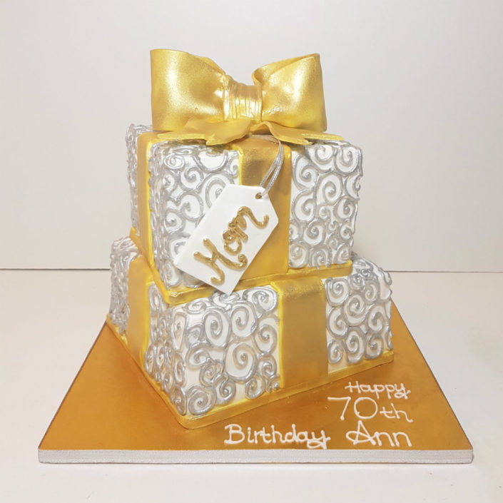 Two tier silver and gold present birthday cake - Tamworth