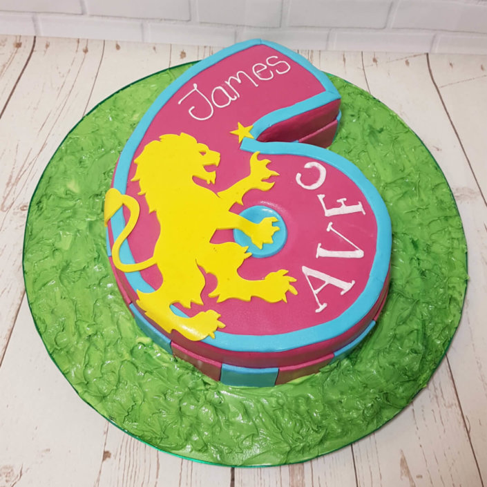 AVFC 6th birthday crest children's birthday cake - Tamworth