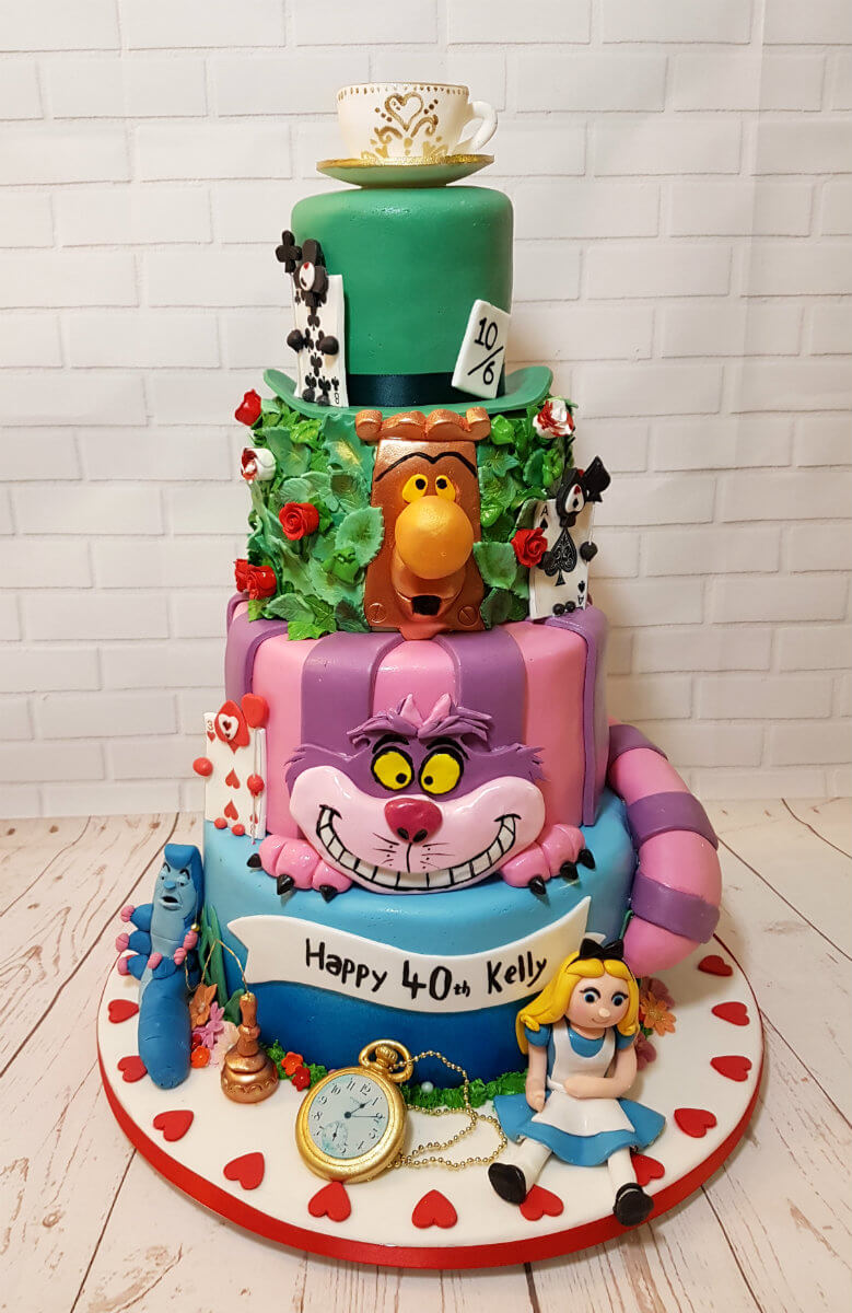 Alice In Wonderland Tier Birthday Cake Tamworth