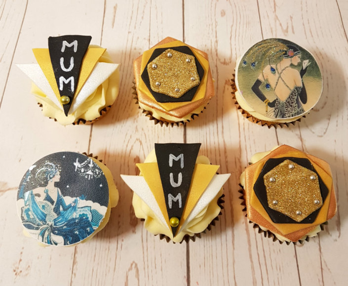 art deco theme style cupcakes - tamworth sutton coldfield