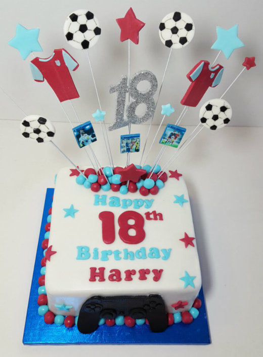 AVFC football themed star spray cake - tamworth