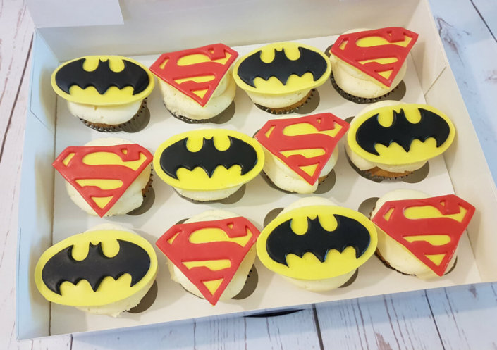 Batman & superman logo themed cupcakes - Tamworth