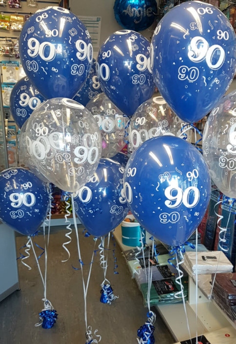 90th birthday blue & white balloon sprays - partyware tamworth