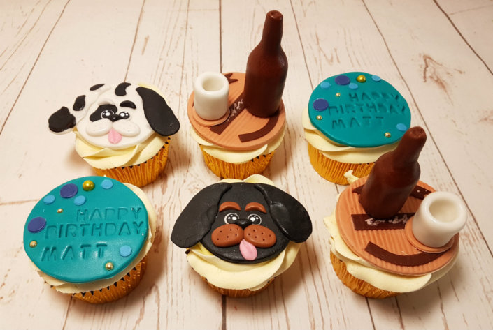 dog and beer theme cupcakes - tamworth sutton coldfield