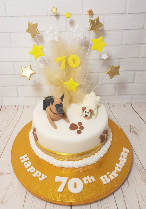 Pet dogs on cake 70th star spray cake - Tamworth