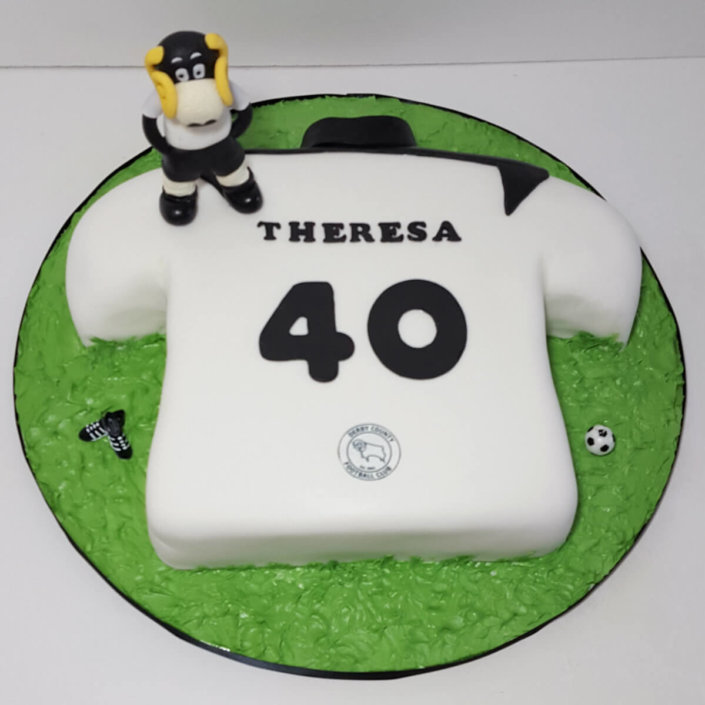 DCFC Derby football shirt & Rammy - Tamworth West Midlands Cake