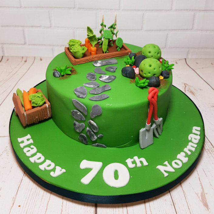 garden alotment theme birthday cake - tamworth sutton coldfield