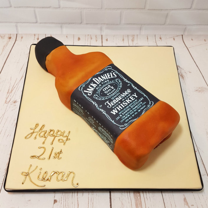 Jack daniels bottle sculpted novelty cake -tamworth