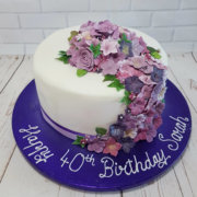 Lilac and purple flower spray birthday cake - Tamworth