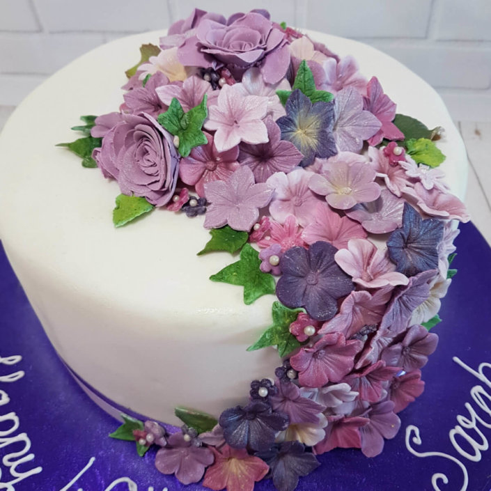 Lilac purple flower spray cake - tamworth