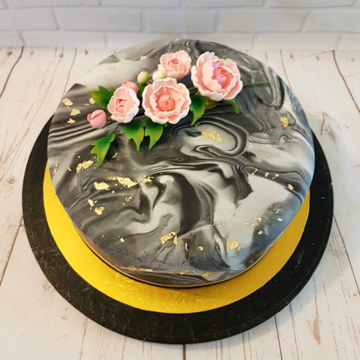 Marble and pink peony celebration cake - tamworth
