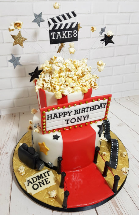 Movie film theme cake shutter popcorn red carpet - Tamworth Sutton Coldfield