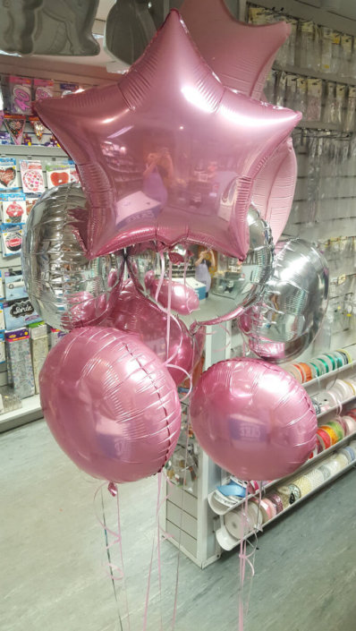 pale pink and silver star and circle balloon spray - tamworth