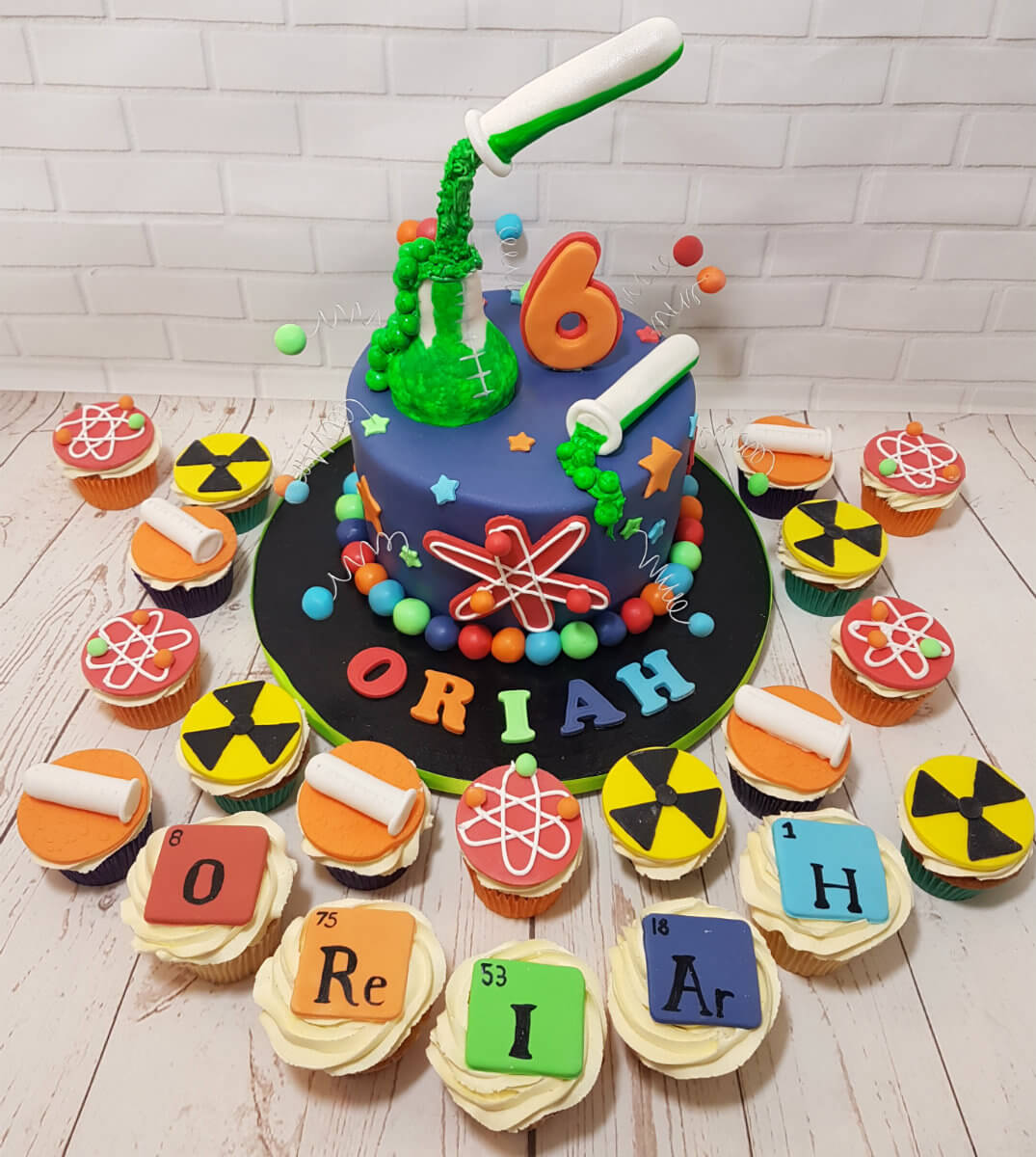 Science theme test tubes elements cake and cupcakes - tamworth