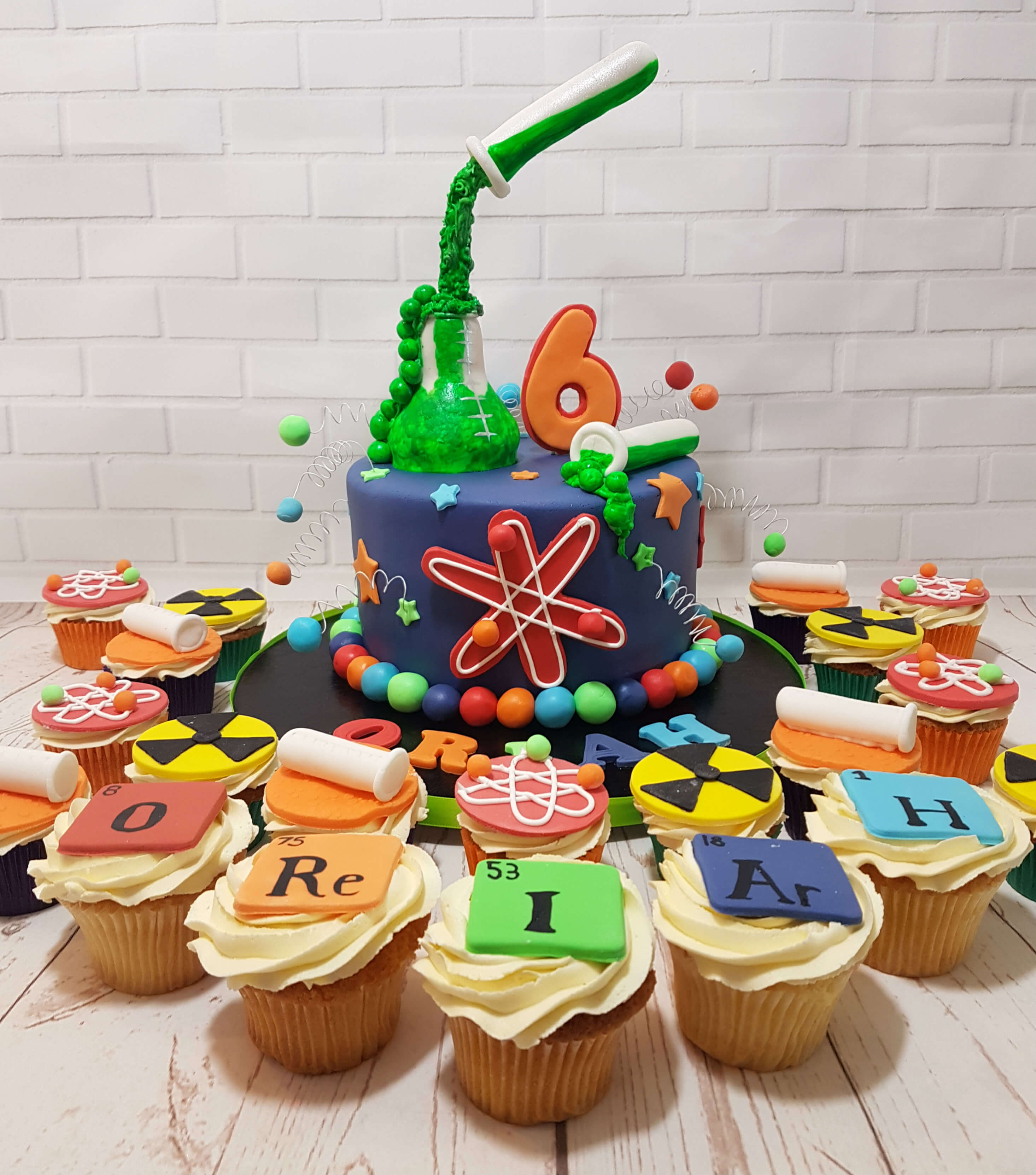 Science Theme Birthday Cake Cupcakes