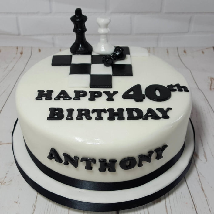 Chess theme pieces birthday cake - tamworth sutton coldfield