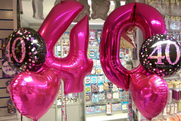 40 helium foil balloons spray pink black tamworth sutton coldfield