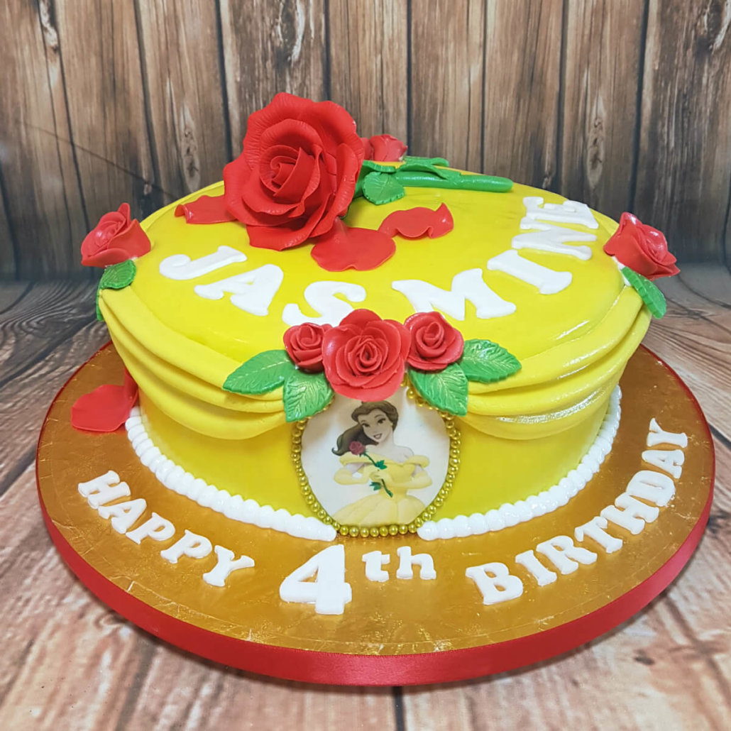 Belle from beauty and the beast theme cake yellow red roses - tamworth sutton coldfield