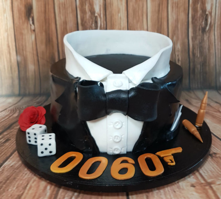 James bond theme 007 cake tuxedo - tamworth sutton coldfield