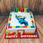 Lego figure photo printed cake with blocks - tamworth sutton coldfield