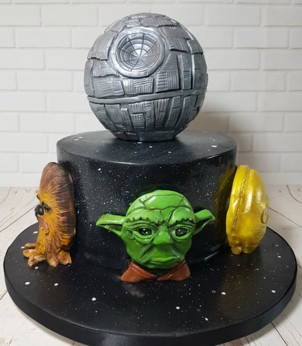 Star wars theme cake 3d head yoda death star - tamworth