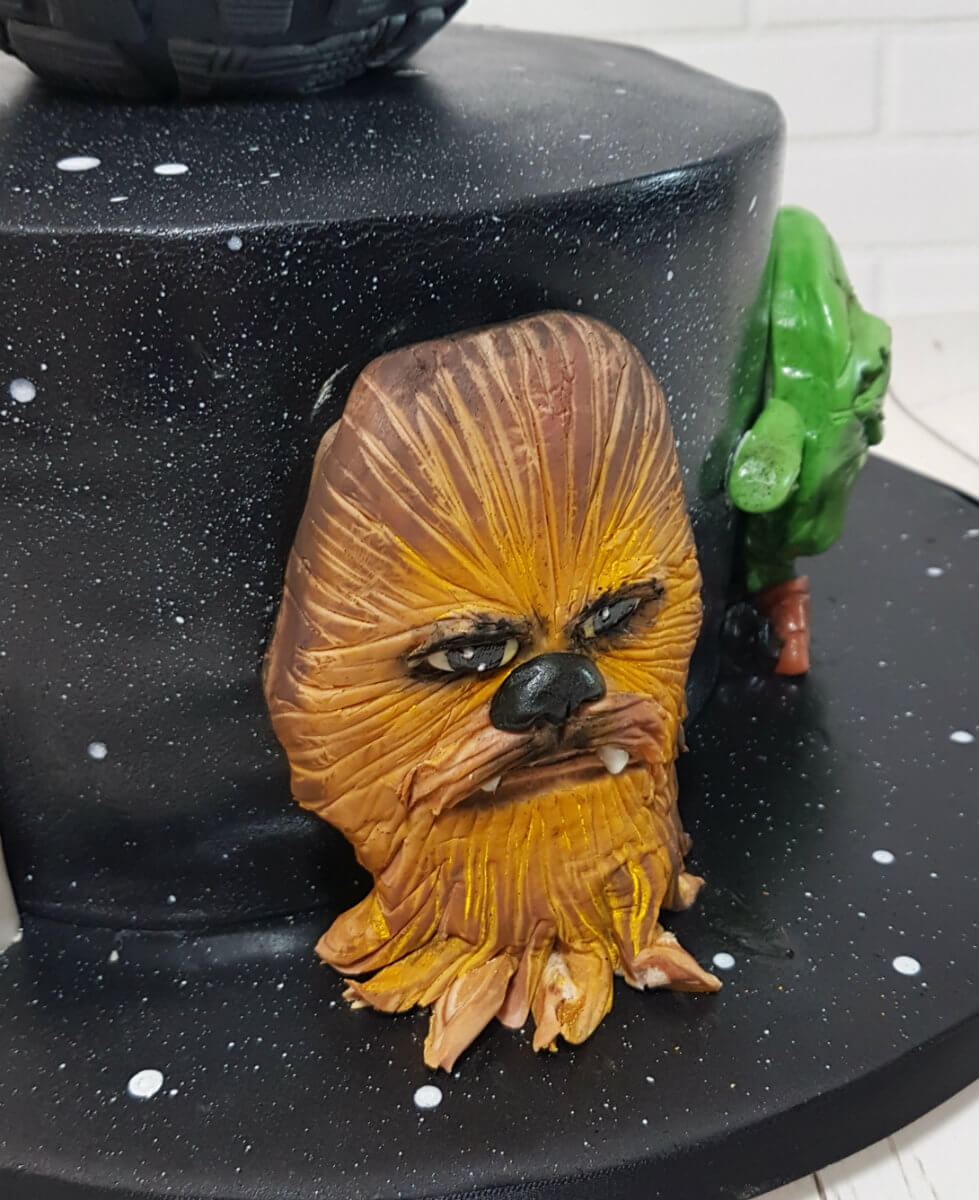 Star wars theme cake 3d head chewbacca - tamworth