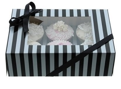 luxury silver and black cupcake box - Tamworth