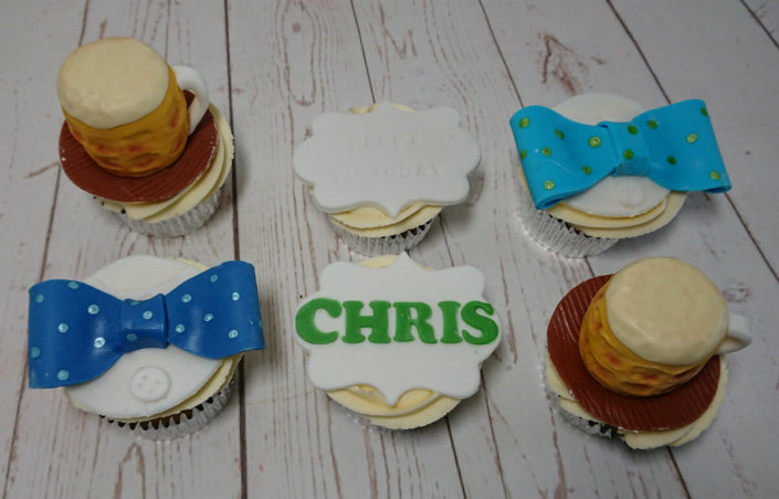 Beer and bow ties 3d cupcakes - tamworth sutton coldfield