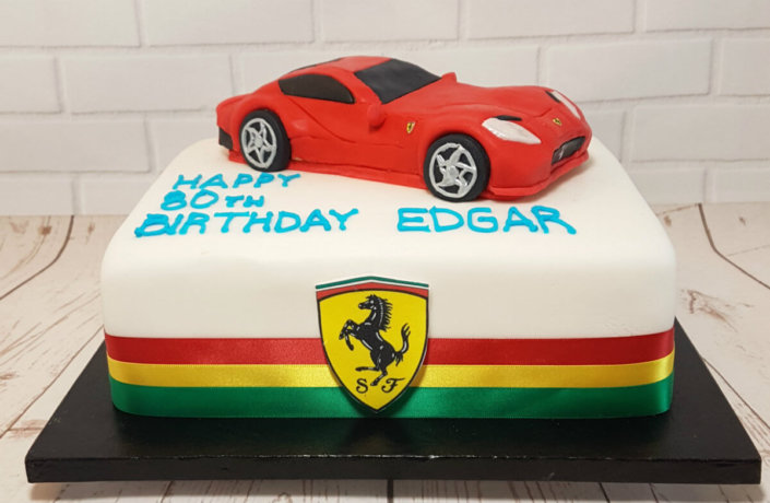 Ferrari cake topper birthday cake - tamworth sutton coldfield