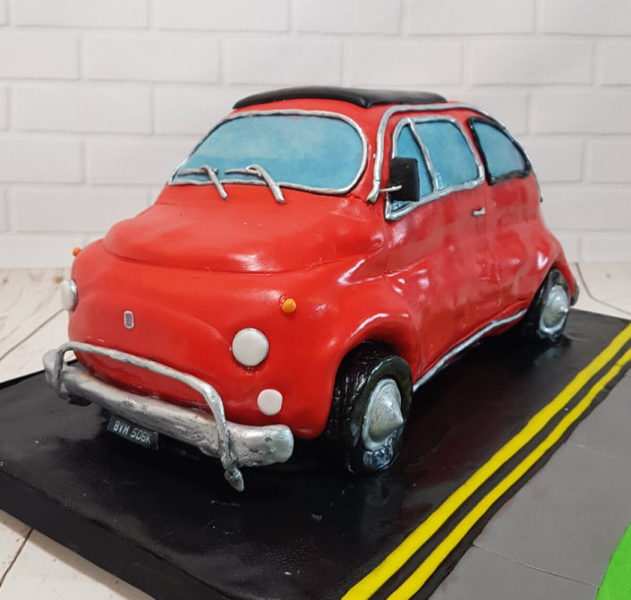 Classice fiat 500 sculpted novelty cake - tamworth sutton coldfield