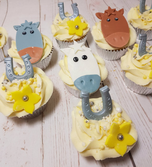 horse head and horse shoe theme cupcakes - tamworth sutton coldfield