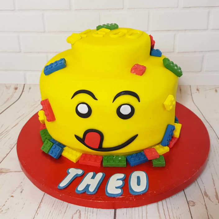 Lego brick head sculpted novelty cake - tamworth sutton coldfield