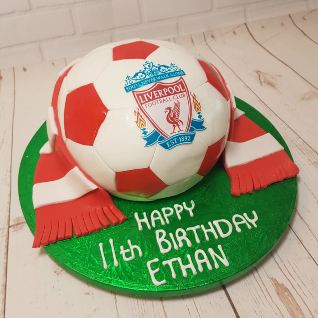 Liverpool fc football sculpted cake and scarf - tamworth sutton coldfield