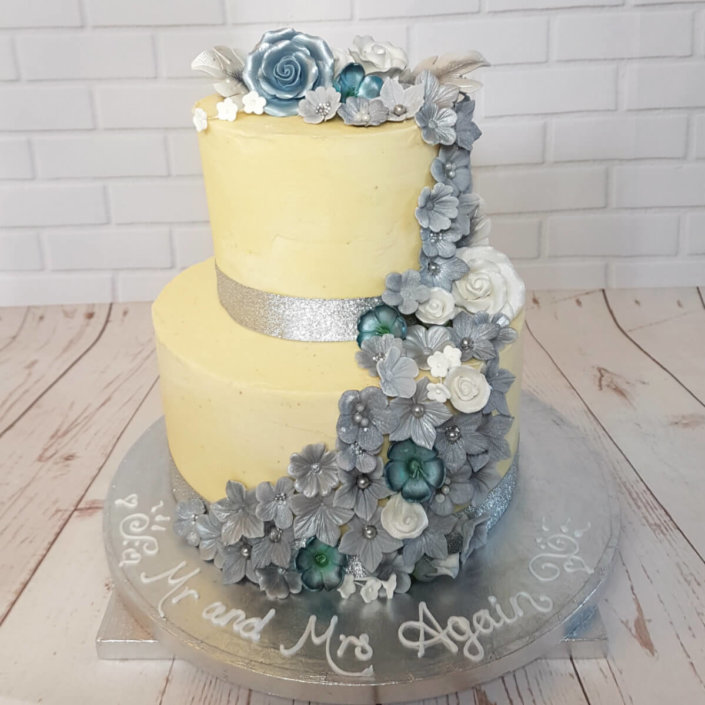Two tier silver flower buttercream only wedding cake - tamworth sutton coldfield