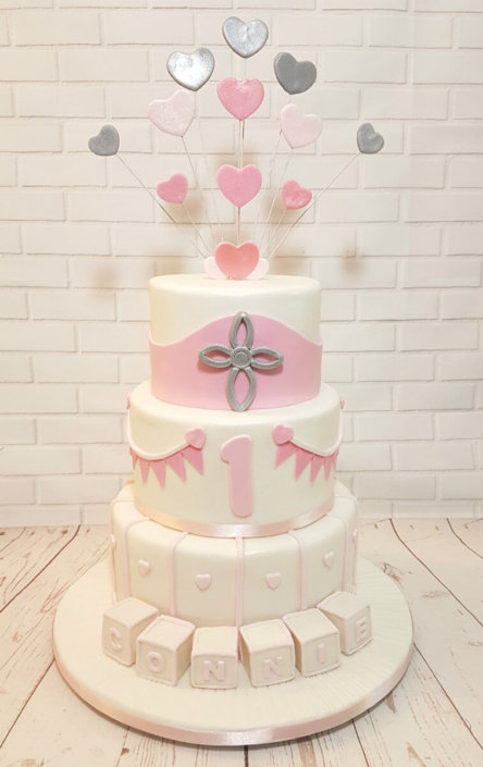 Three tier Christening 1st birthday cake, pink hearts bunting, blocks - Tamworth Sutton Coldfield