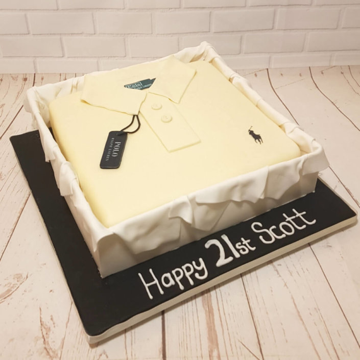 white polo shirt in box cake - tamworth