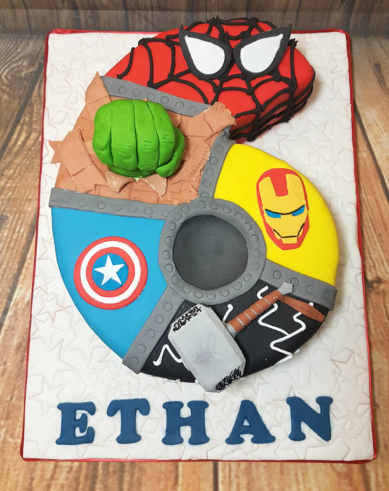 6th birthday marvel theme birthday cake - Tamworth