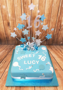 Blue & white sweet 16 star spray birthday cake - Tamworth