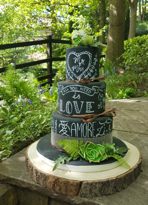 Three tier chalkboard love wedding cake - Quality Cake Company Tamworth