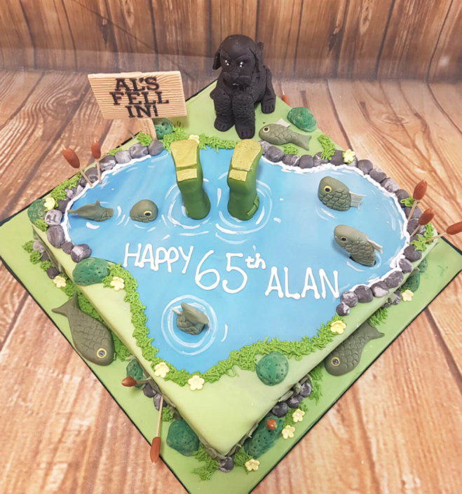 Cockapoo garden pond theme birthday cake - Tamworth