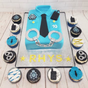 Police shirt cake and police theme cupcakes