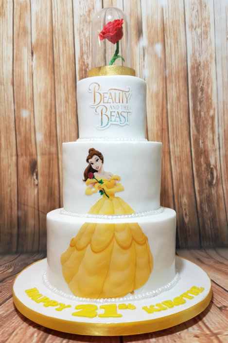 Three tier beauty and the beast birthday cake - Tamworth