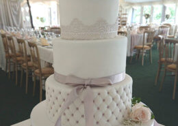 Three tier Simple quilted wedding cake - Tamworth