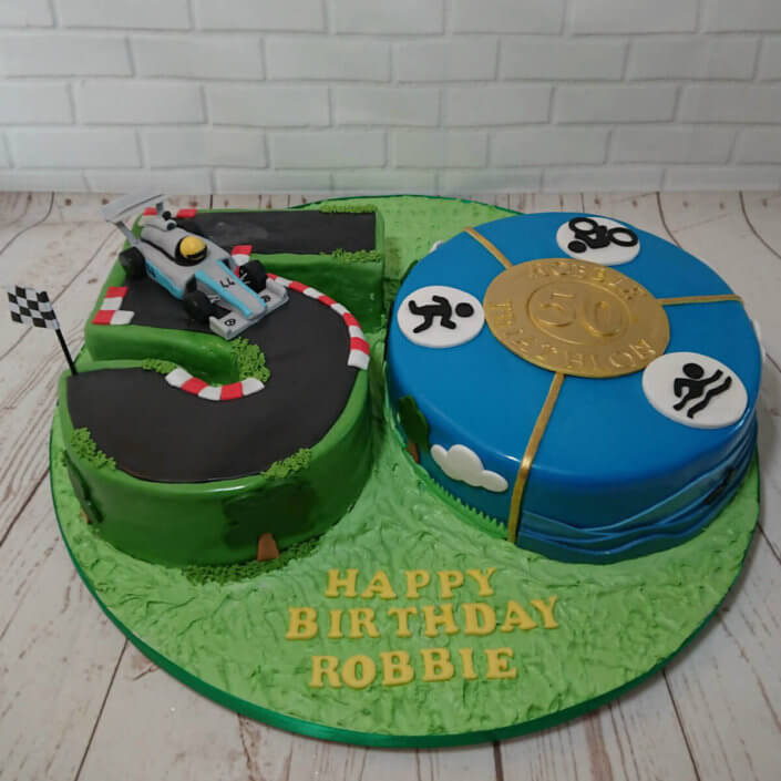 50 number cake F1 & triathlon theme cake - Tamworth