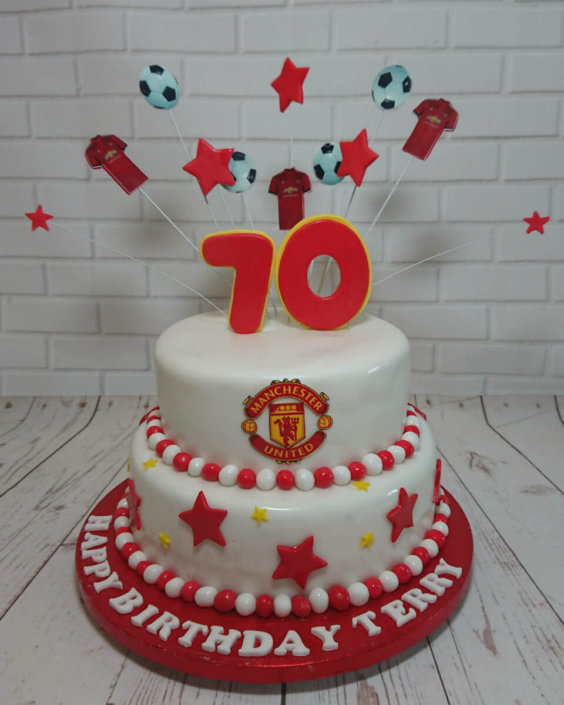Man United two tier birthday cake - Tamworth