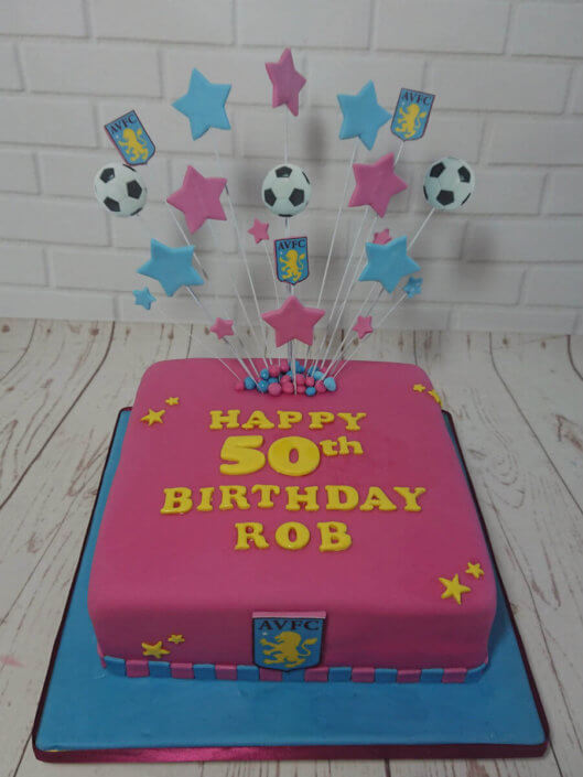 Aston villa AVFC star spray birthday cake